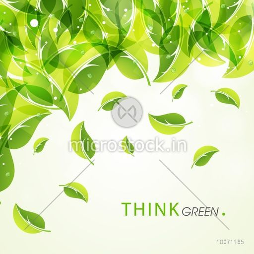 Stylish poster, banner or flyer design decorated with fresh leaves for Think Green concept.