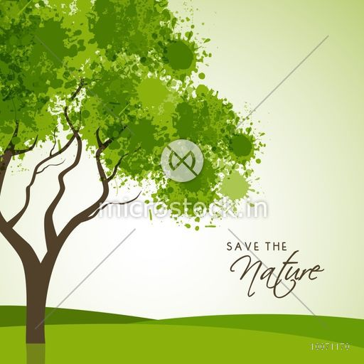 Creative tree made by green color splash on shiny background for Save the Nature.