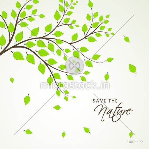 Fresh green leaves on grey background for Save the Nature.