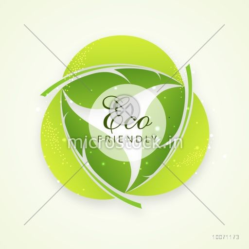 Stylish text Eco Friendly on creative leaves, can be used as sticker, tag or label design.