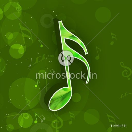 Musical sign on seamless green background.