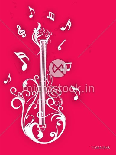 Floral decorated guitar with musical notes on pink background.