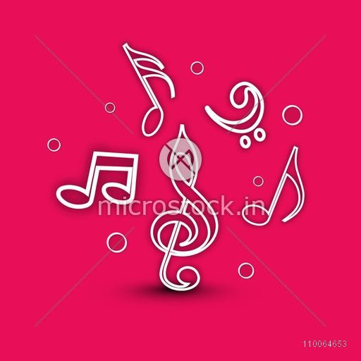 Musical notes in white underline on pink background.
