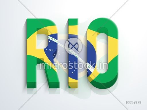 Creative 3D Text Rio in Brazilian Flag colors on shiny background, Can be used as Poster, Banner or Flyer design.