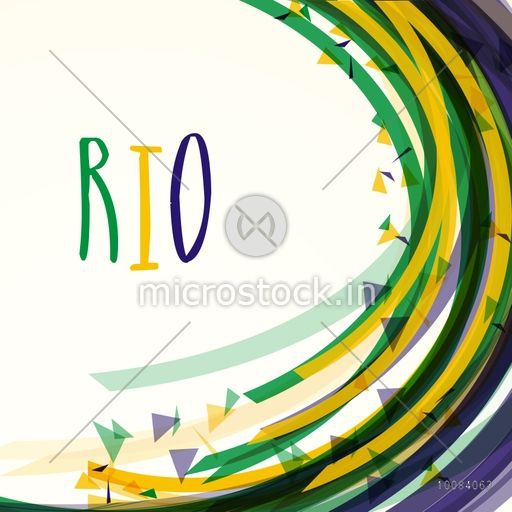 Creative abstract pattern background with stylish text Rio in Brazilian Flag colors, Can be used as Poster, Banner or Flyer design.