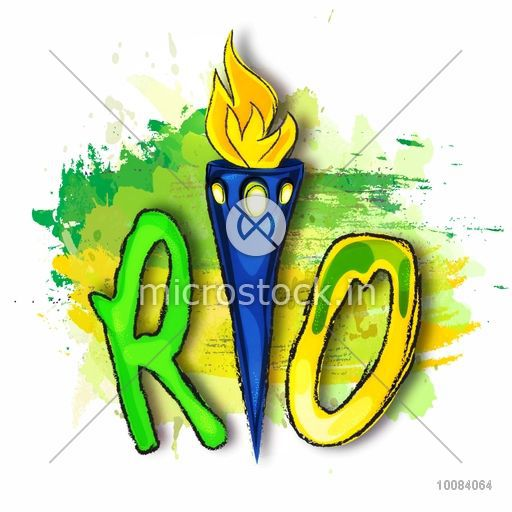 Creative hand drawn text Rio with Burning Torch on abstract watercolor background, Vector illustration in Brazilian Flag colors for Sports concept.