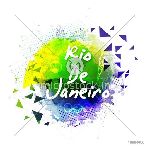 Stylish Text Rio De Janeiro on abstract background, Can be used as Poster, Banner or Flyer design for Sports concept.