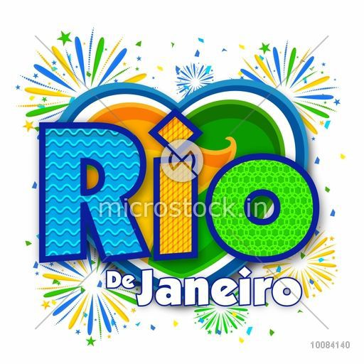 Creative Brazilian Flag Colors Text Rio De Janeiro with Heart on fireworks background, Can be used as Poster, Banner or Flyer design.