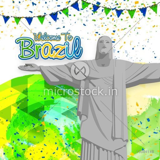 Creative illustration of Christ the Redeemer statue on Brazilian Flag colors background, Can be used as Poster, Banner or Flyer design.