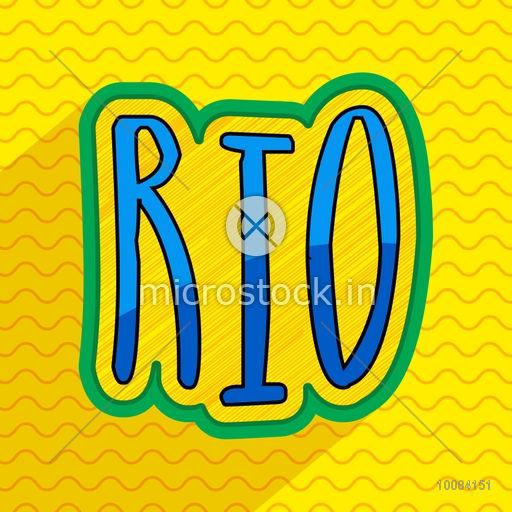 Creative Text Rio on yellow background, Can be used as Poster, Banner or Flyer design.