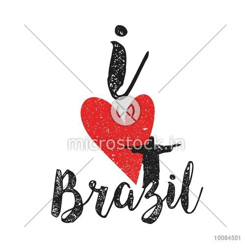 Creative Text I Love Brazil with Heart on white background, Can be used as Poster, Banner or Flyer design.