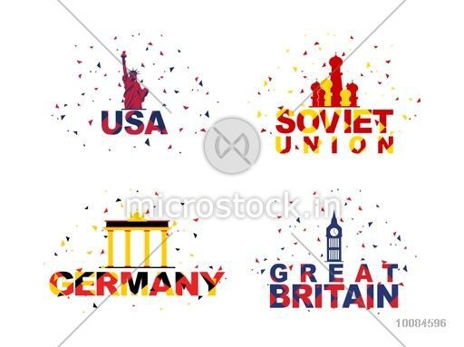 Creative typographic set of participant countries including United States of America, Soviet Union, Germany and Great Britain for Sports concept.