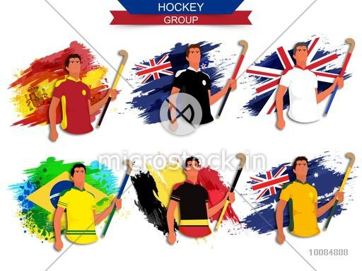 creative illustration of hockey group players on participant