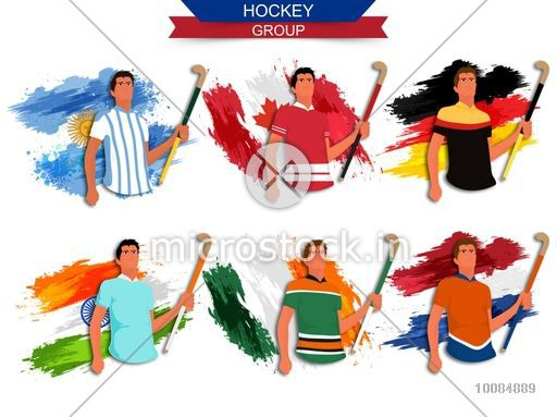 hockey group players holding hockey sticks flags of argentina