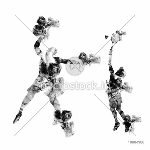Basketball and Tennis Player in action, Creative vector illustration made by smoke effects on white background for Sports concept.