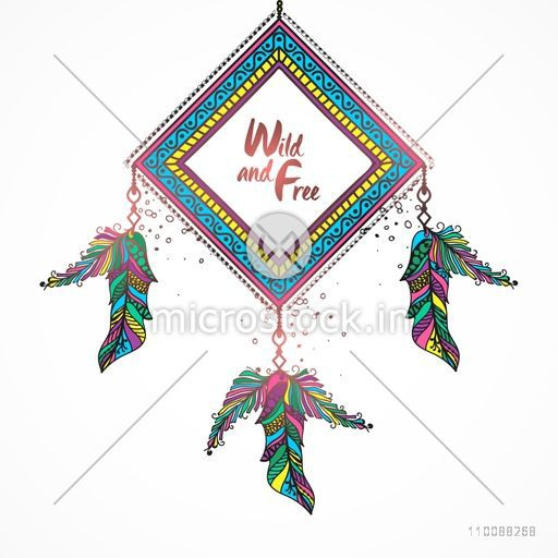 Creative Boho style Dream Catcher with colorful ethnic feathers decoration.