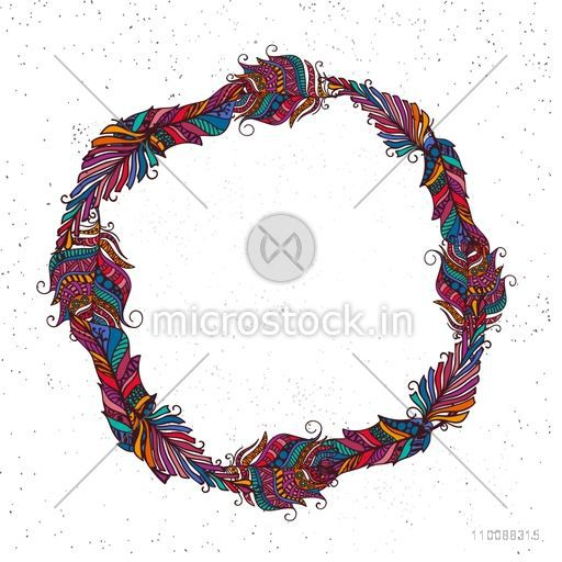 Creative boho style frame made by colorful ethnic feathers with space for your text.
