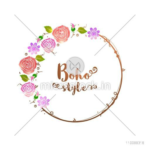 Boho style watercolor flowers decorated rounded frame with space for your text.