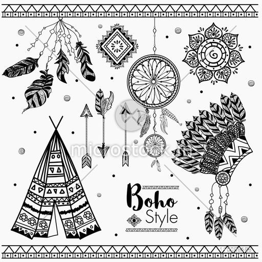 Set of hand drawn Boho design elements including Feathers, Dream Catcher, Arrows, Teepee and War Bonnet.