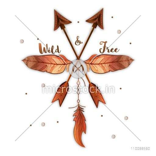 Hand Drawn Ethnic Feathers with Arrows in Boho style.