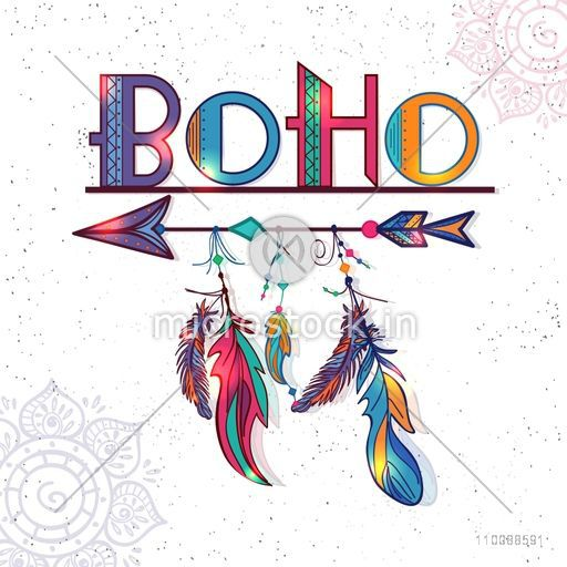 Glossy colorful Text Boho with Ethnic Decorative Feathers and Arrow. Creative hand drawn illustration.