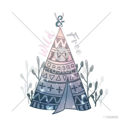 Creative hand drawn illustration of a Teepee or Wigwam in Boho style.