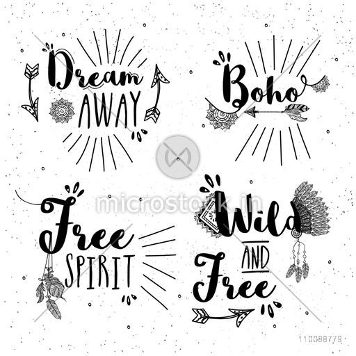 Creative hand drawn typographic collection with ethnic elements in Boho style.