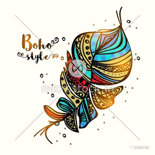 Glossy colorful floral ethnic feather. Hand drawn boho style element.