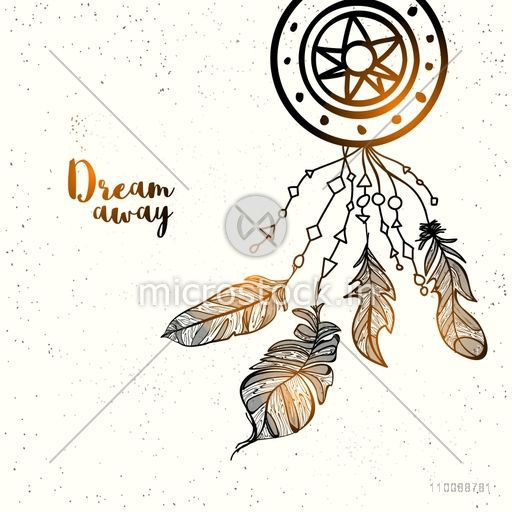 Glossy hand drawn Dreamcatcher with ethnic feathers in Boho style.