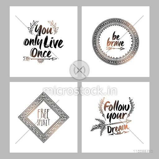 Set of Boho style Frames with place for your text. Creative hand drawn illustration.