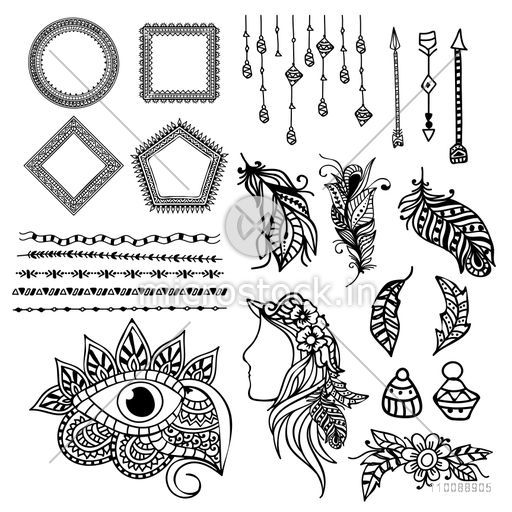 Set of floral Boho style hand drawn elements as Ethnic Feathers, Flower, Dividers, Arrows, Frames and Eye.