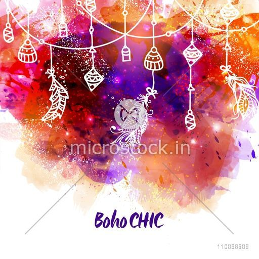 Creative colorful abstract background decorated with hand drawn Boho style elements.