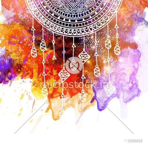Creative colorful abstract background decorated with hand drawn floral pattern Boho style elements.