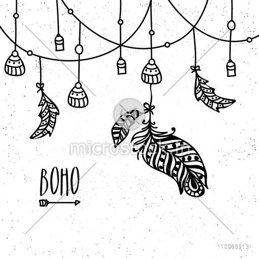 Hand drawn ethnic feathers decorated background in Boho style.
