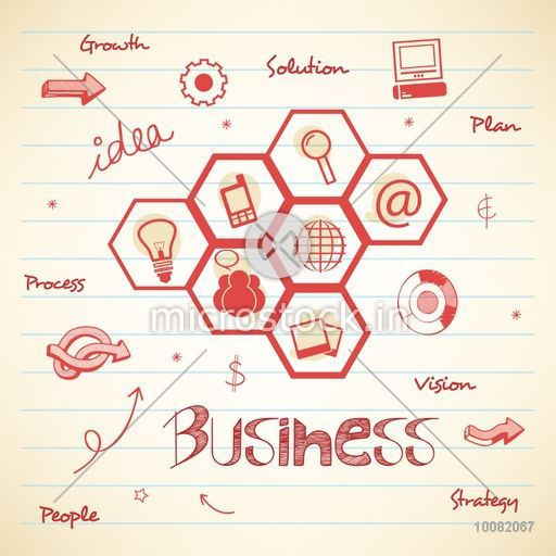Creative various infographic elements on notebook paper background for Business.