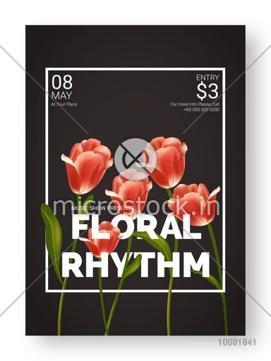 Beautiful glossy flowers decorated floral rhythm musical show beautiful glossy flowers decorated floral rhythm musical show template dance party flyer or flashek Choice Image