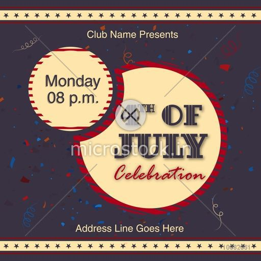 Creative Invitation Card Design With Date And Time Details For 4th Of July American Independence Day Celebration