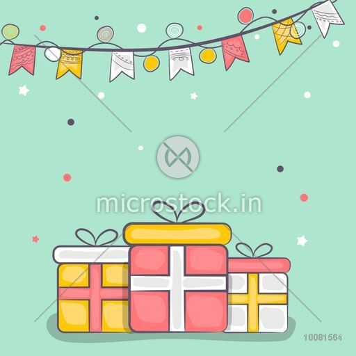 Colorful gifts decorated greeting card for Muslim Community Festival and other occasion celebration.