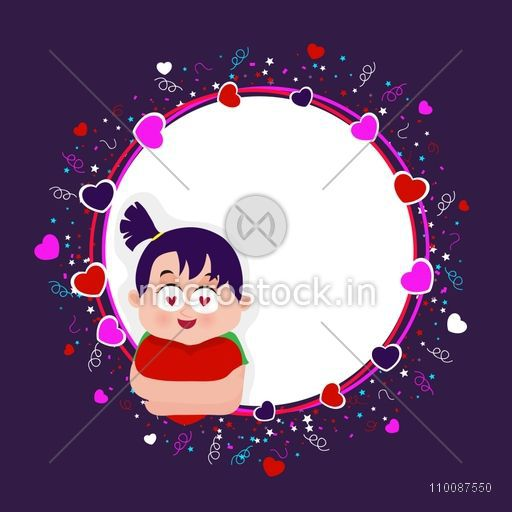 Hearts decorated frame with illustration of cute girl, Elegant greeting card design for Happy Valentine's Day celebration.
