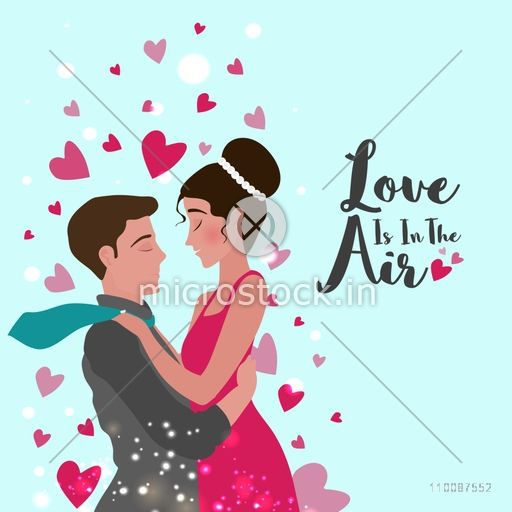 Young Couple in love, Beautiful hearts decorated background, Vector for Happy Valentine's Day celebration.