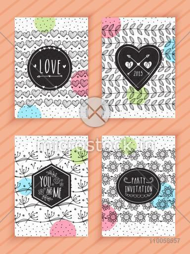 Set of greeting or invitation cards decorated with beautiful hand drawn pattern.