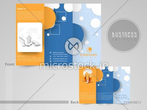 Professional three fold flyer, template or brochure for your company with business infographics, can be use as presentation.