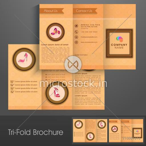 Professional trifold brochure, catalog and flyer template for sandals business purpose.