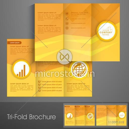 Stylish trifold brochure, catalog and flyer template in yellow color for business concept.