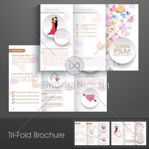 Stylish trifold brochure, catalog and flyer template for love purpose.