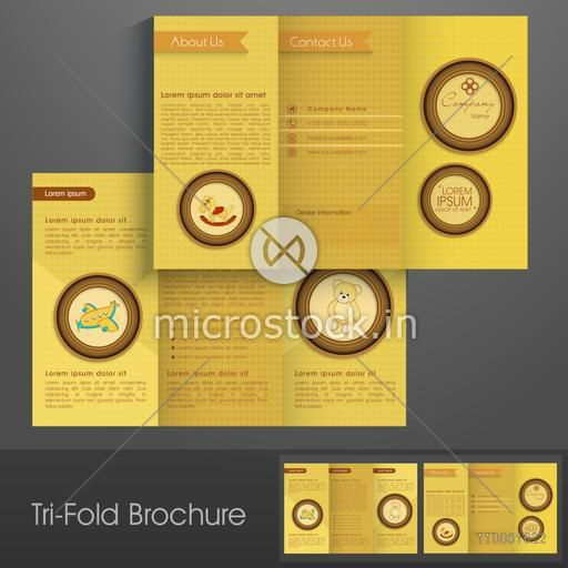Stylish trifold brochure, catalog and flyer template for toys business purpose.