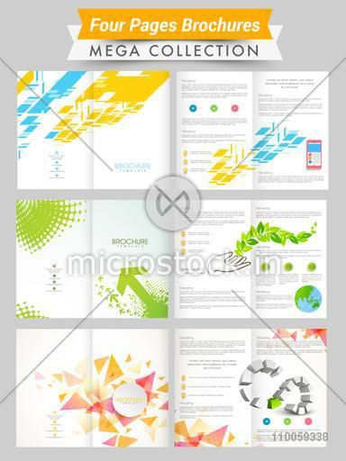 Set of four pages abstract brochures or flyers presentation for your business and ecology concept.