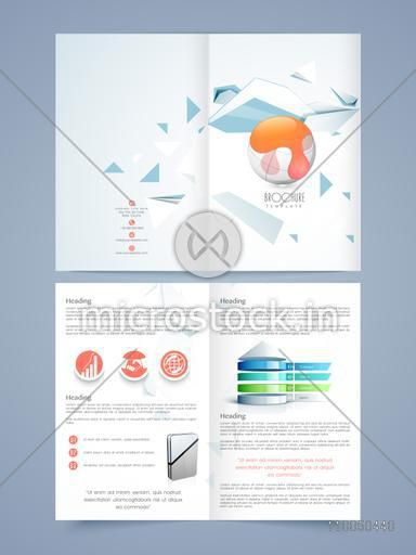 Two pages corporate brochure or flyer with infographical statistical chart and icons, Professional presentation for your business.