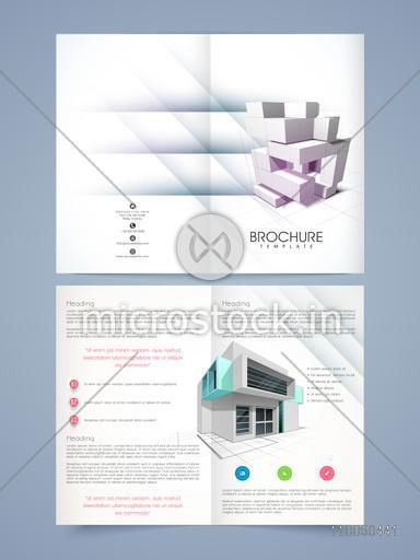 Real estate or architectural two pages brochure or flyer concept with residential module design.