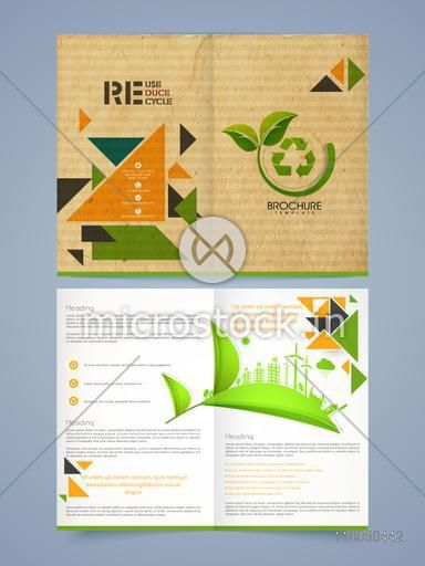 Vintage two pages Ecological brochure, template or flyer design with recycling process and place holder for your content.